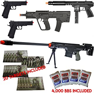 UKARMS Epic New Lot of 5 Airsoft Guns Sniper Rifle Pistols & 4000 6mm BB & 20 Targets