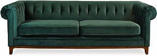 EDLOE FINCH Green Velvet Sofa - Chesterfield Midcentury Modern Sofas for Living Room, Tufted