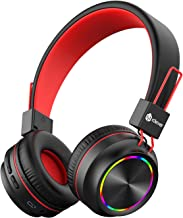 iClever BTH03 Kids Headphones, Colorful LED Lights Kids Wireless Headphones with MIC, 25H Playtime, Stereo Sound, Bluetoot...