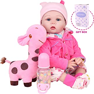 CHAREX Realistic Reborn Baby Dolls, Lifelike Silicone Baby Dolls, Weighted Newborn Dolls with Giraffe Gift for Ages 3+