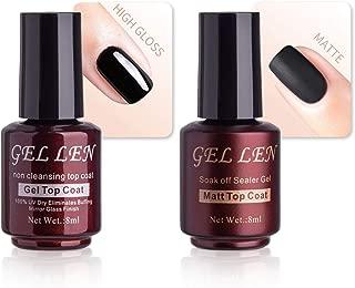 Gellen No Wipe Matte Top Coat and High Gloss Shiny Top Coat for Gel Nail Polish
