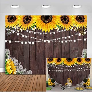 Mocsicka Rustic Wood Sunflower Backdrop 7x5ft Rustic Brown Wood Floral Baby Shower Photo Backdrops Sunflower Theme Birthday Wedding Party Banner Photography Background