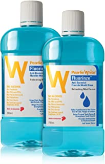 Pearlie White Fluorinze Antibacterial Fluoride Mouth Rinse, 2 x 750 ML