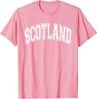 Scotland Varsity Style Pink with White Text T-Shirt
