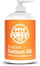 Pets Purest Scottish Salmon Oil For Dogs, Cats, Horses, Ferrets & Pets - 100% Pure Premium Food Grade - Natural Omega 3, 6 & 9 Supplement - Promotes Coat, Skin, Joint and Brain Health