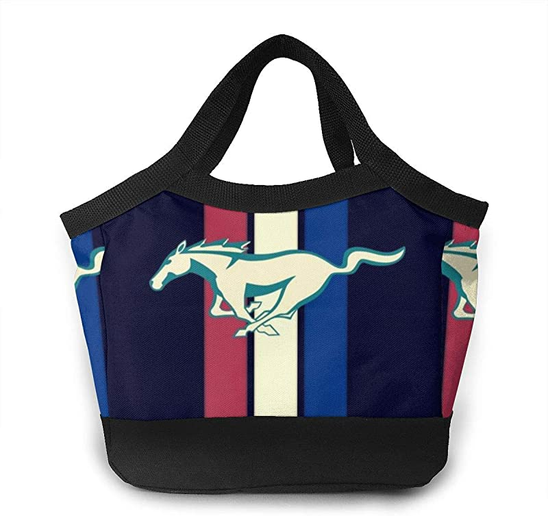 Retro Mustang Signs Waterproof Neoprene Thermal Insulated Lunch Bag Shopping Bag