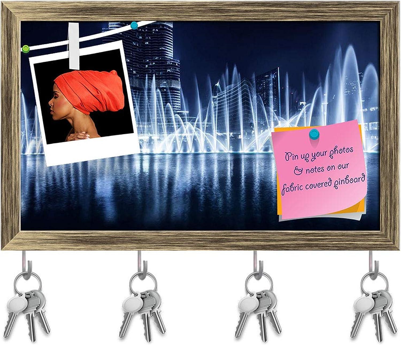 Artzfolio Dubai at Night Evening Cityscape, UAE Key Holder Hooks   Notice Pin Board   Antique golden Frame 19.9 X 12Inch