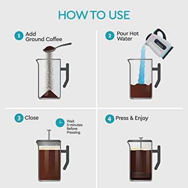 Large French Press Coffee Maker - Double Wall 304 Stainless Steel - 4 Level Filtration System with 2 Extra Filters, Black, 50