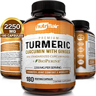 Turmeric Curcumin with Ginger & BioPerine Black Pepper Supplement 2250mg, 180 CAPSULES - Anti-Inflammatory, Antioxidant, Anti Aging - 100% Natural, Non-GMO, Vegan Best Maximum Potency, No Side Effects