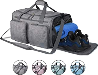 Foldable Sports Gym Bag with Wet Bag & Shoes Compartment, Travel Duffel for Men and Women