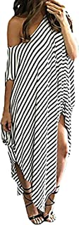 Women Maxi Dress Striped Long Dresses Casual Loose Kaftan...