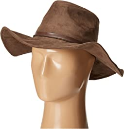 Faux Suede Floppy Fedora Hat with Wired Brim and Faux Leather Band (Big Kids)