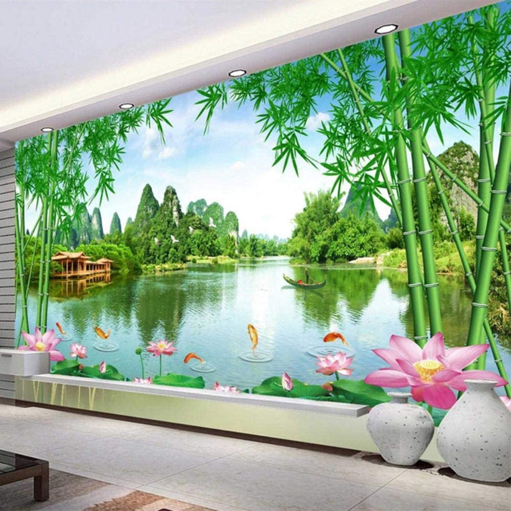 MAZF Custom Wall Cloth 3D Shipping included Bamboo Lotus Max 56% OFF Landscape Nature Photo Mu