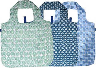 rockflowerpaper Blue Green Succulent Printed Blu Bag Pack of 3 Reusable Grocery Shopping Bag, Eco-friendly Convenient Machine Washable Everyday Totes