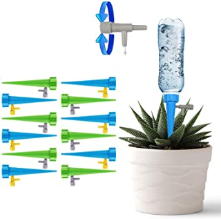 GOSETH Automatic Drip Irrigation Watering Devices[12 PCS].Plant Waterer Self Watering Spike Plant.Slow Release Switch Control Valve Care Your Indoor&Outdoor Plants (12Pack Green+Blue)