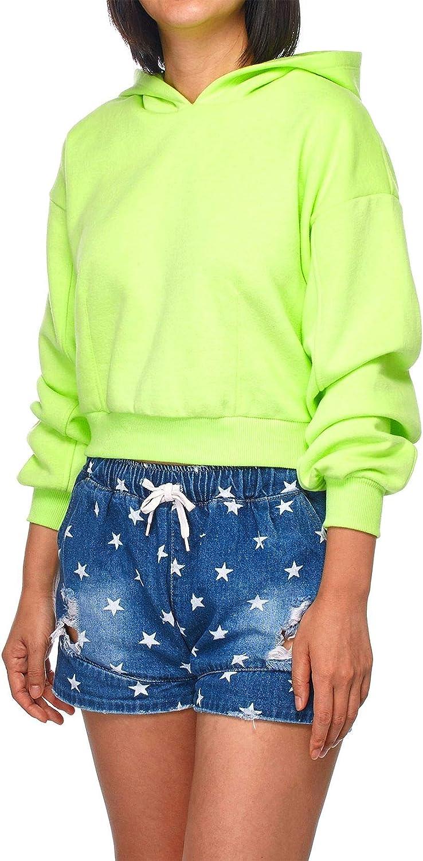 FashionMille Women Solid Long Sleeve Casual Pullover Crop Hoodie Sweatshirt