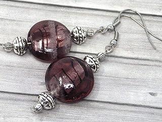 Orecchini Venezia in acciaio inossidabile e perle piatte in vetro di Murano viola