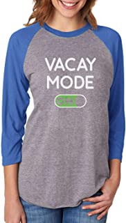 Tstars Vacay Mode ON Summer Fashion Vacation 3/4 Women Sleeve Baseball Jersey Shirt