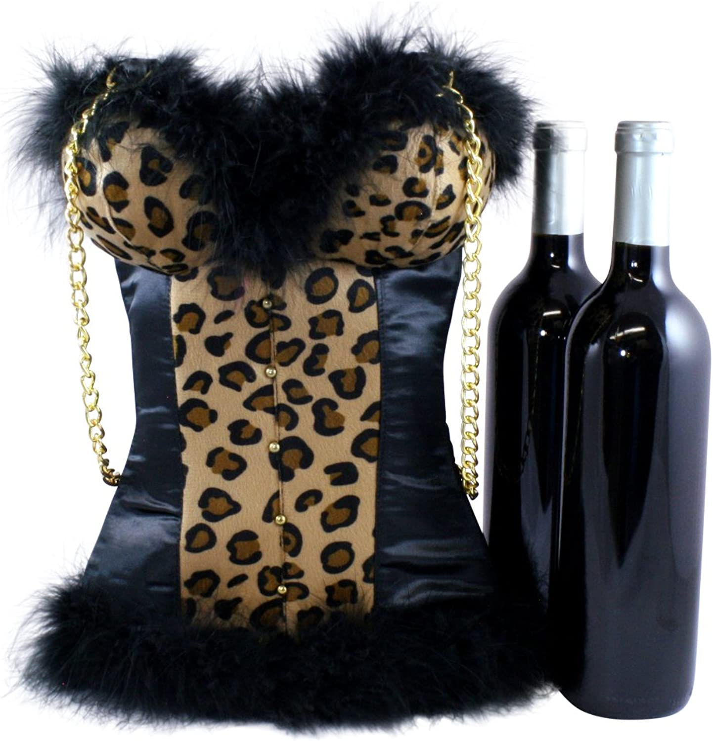 Insulated Wine Bag by Tipsy Totes   Sexy Wine Carrier Tote for Hostess Gifts, Housewarmings, Birthdays, BYOB   Portable Wine Cooler Corset Shaped Tote   Cute Wine Bottle Carrier (Leopard Cheetah)