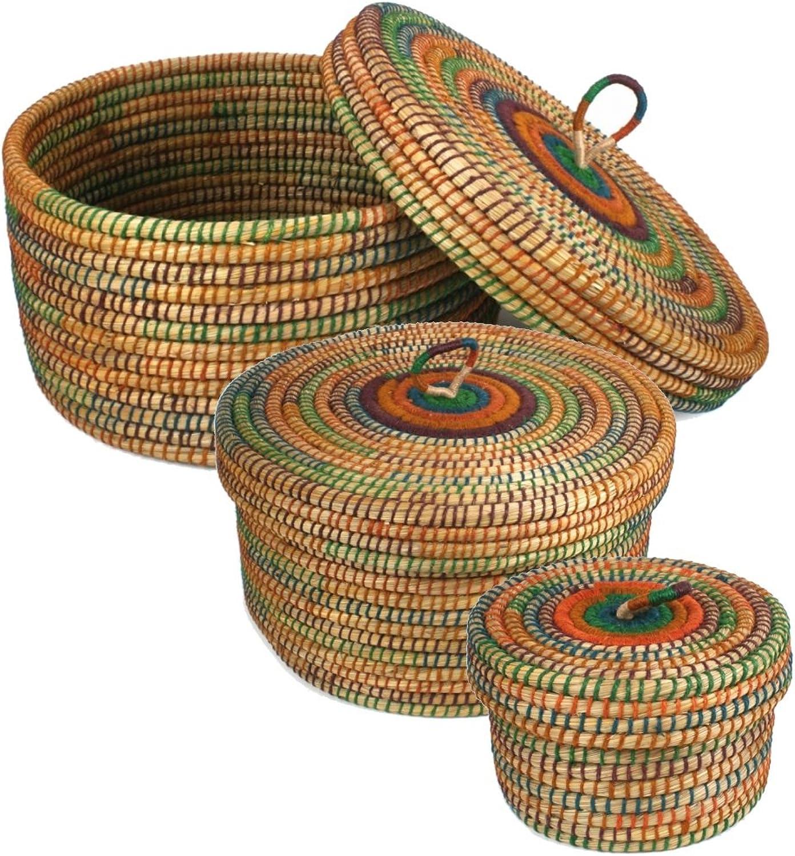 Krimskramskorb  20 30 40cm  Aufbewahrungskorb mit Deckel  Handarbeit  Fair Trade (Set - alle DREI Gren)