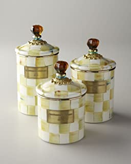 MacKenzie-Childs Enamel Parchment Check Canister Large