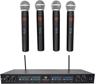 Rockville Quad UHF Handheld Wireless Microphone System w/LCD+Metal Casing, (rwm90u)