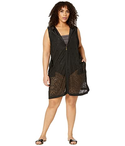 DOTTI Plus Size Gypsy Gem Zip Front Hoodie Dress Cover-Up (Black) Women