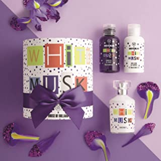 The Body Shop White Musk Fragrance Gift Set, 4pc Paraben-Free Fragrance Set of White Musk Bath and Body Routine