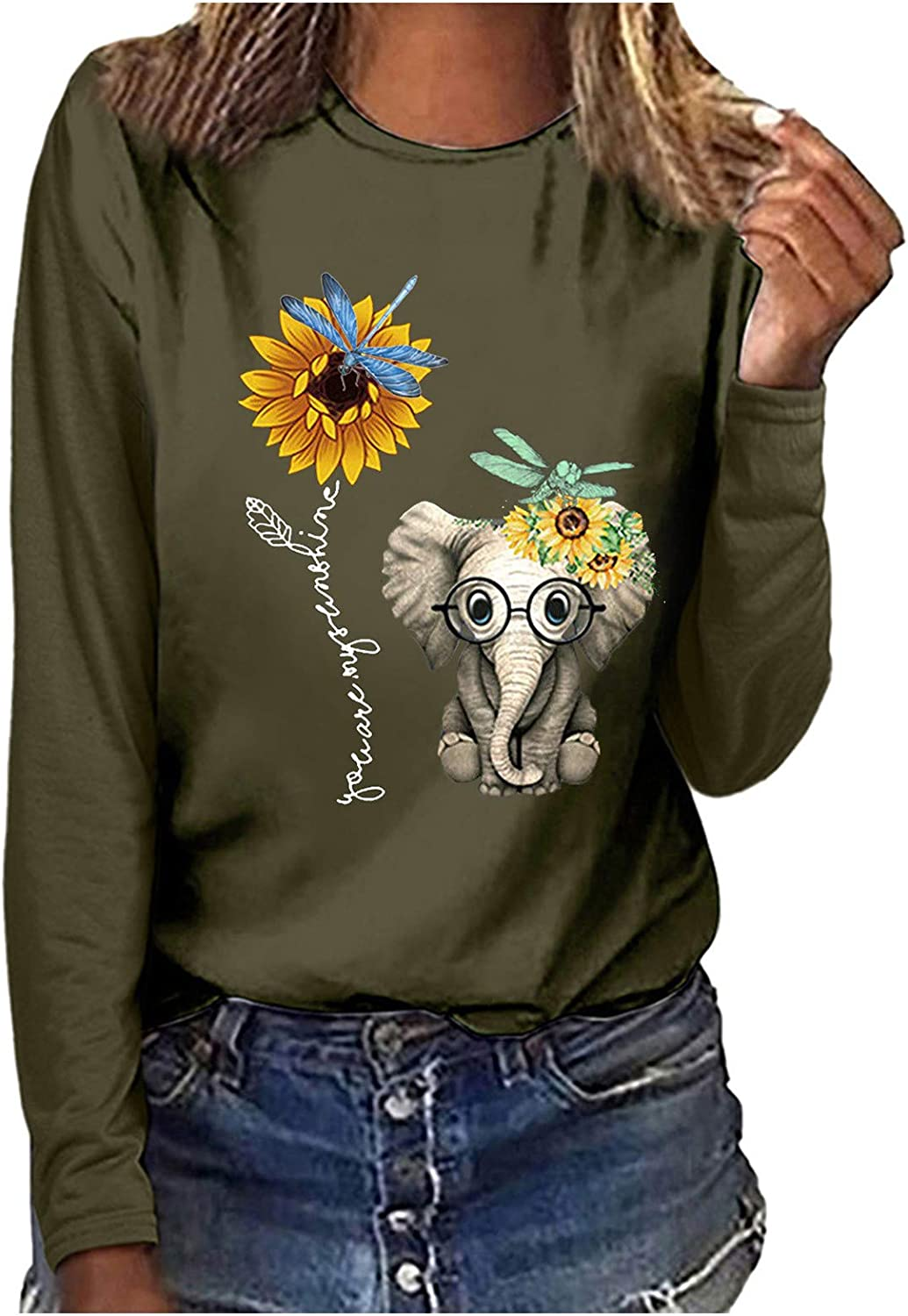 POLLYANNA KEONG Long Sleeve Tops for Women,Womens Vintage Graphic Pullover Sweatshirt Long Sleeve Loose Shirts Tops