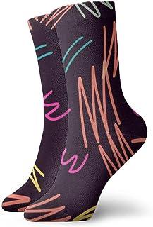 Calcetines deportivos transpirables de poliéster coloridos para hombre, para mujer, medias deportivas, línea colorida, 11.8 pulgadas (30 cm)
