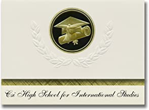 Signature Announcements Csi High School for International Studies (Staten Island, NY) Graduation Announcements, Presidential Elite Pack 25 with Gold&Black Cap&Diploma Seal