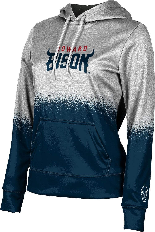 Howard University Girls' Pullover Hoodie, School Spirit Sweatshirt (Spray Over)