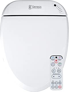 Genesis Alerotos Electric Bidet Toilet Seat - With Remote Control - Heated Seat, Warm Water Wash & Warm Air Dry - Self Cleaning Titanium Nozzle, Kids Mode, Deodorizer, Soft Close Lid (Round)