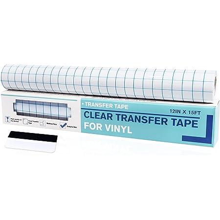 Papier Film Transfert Vinyle Rouleau 30cm*5m avec Grille d'Alignement Bleue Ruban de Transfert Cameo Décalcomanies Fenêtres Murs Verre Surfaces Adhésivité Moyenne Autocollants avec Grattoir