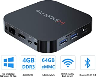 Mini PC Windows 10 Pro OS(64 Bits) with Intel Atom X5-Z8350 Processor HD Graphics 4GB RAM + 64GB Storage, Fanless Mini Desktop Computer with Dual Band WiFi AC/Bluetooth 4.2,Ethernet and HDMI Port