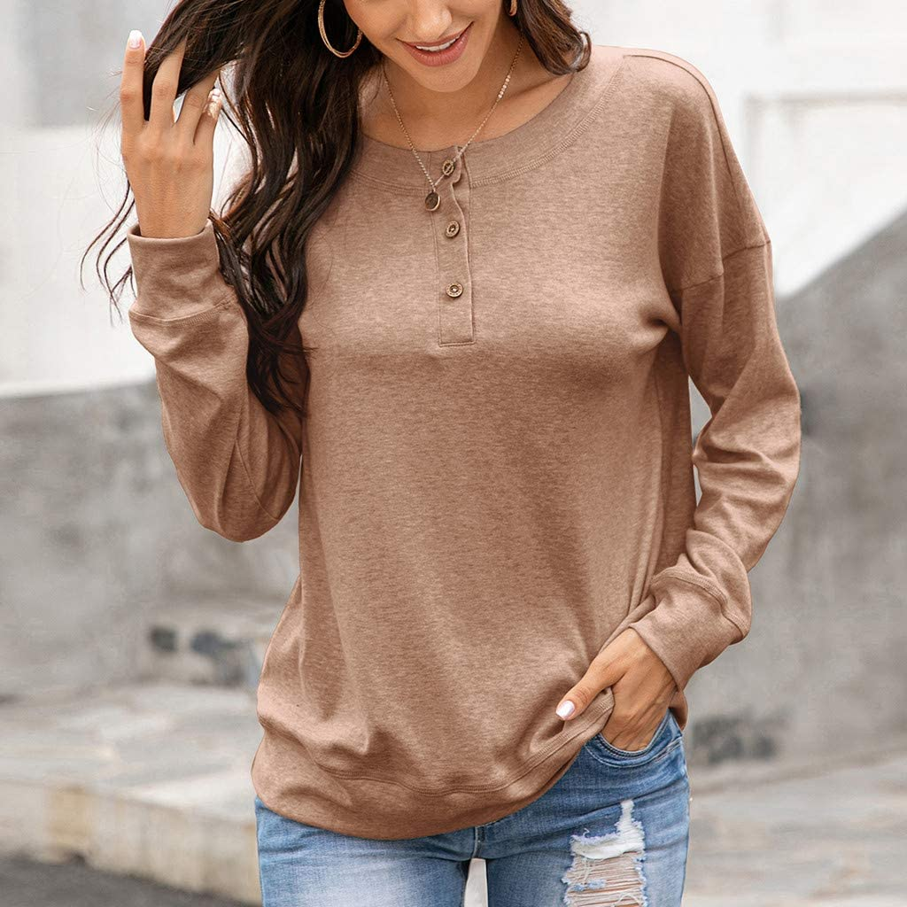 F/_topbu Sweatshirts for Women Long Sleeve Round-Neck Tops Solid Color Button Down Shirts Casual Loose Pullover Blouses