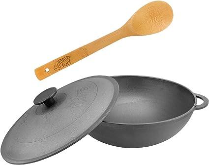 Sartén Wok de hierro fundido con tapa para horno Tatarskij Plow BBQ para carbón, caldera, cocina exterior, cocina de campo, camping Gulash