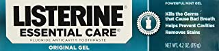 Listerine Essential Care Fluoride Toothpaste Gel-Mint-4.2 oz, 2 pk