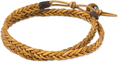 NOVICA Tiger's Eye Braided Leather Men's Wrap Bracelet, 16.25