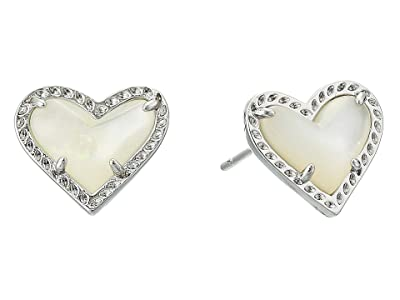 Kendra Scott Ari Heart Stud Earrings (Rhodium Ivory Mother-of-Pearl) Earring