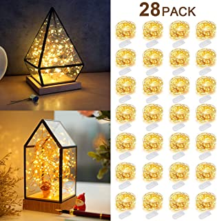 KAQINU 28 Pack Fairy Lights Battery Operated,6.6 FT 20 LED Fairy String Light Waterproof Silver Wire Starry Firefly Light for DIY Bedroom Mason Jars Wedding Party Halloween Decoration-Warm White