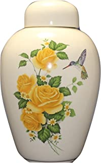 Hummingbird with Yellow Roses - Floral Funeral Urn - Cremation Urn for Human Ashes - Hand Made Pottery