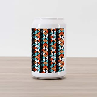 Ambesonne Modern Cola Can Shape Piggy Bank, Vector Contemporary Design Geometric Hexagonal Detailed Image, Ceramic Cola Shaped Coin Box Money Bank for Cash Saving, White Salmon Turquoise and Black