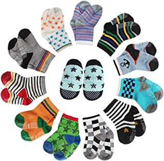CIEHER 12 Pairs Baby Socks Grip Socks for Baby Baby Socks 12-36 Months Toddler Socks Boys, 12 Different Colors