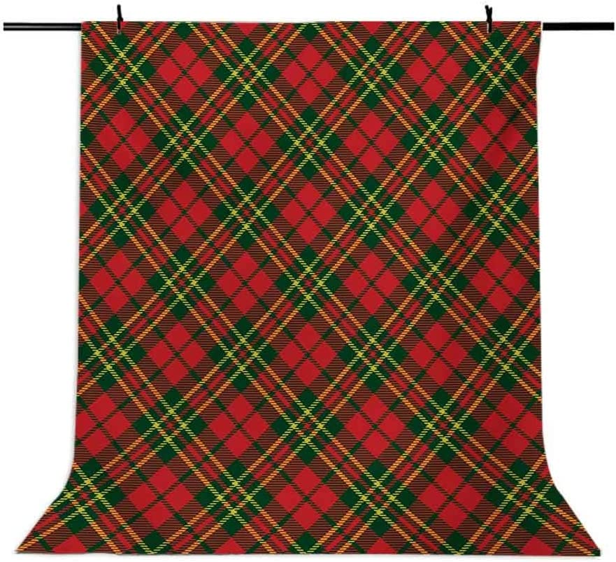 Irish Tartan Plaid Motifs in Christmas Colors Geometrical Crossed Stripes Background for Baby Birthday Party Wedding Vinyl Studio Props Photography Checkered 6x8 FT Photography Backdrop