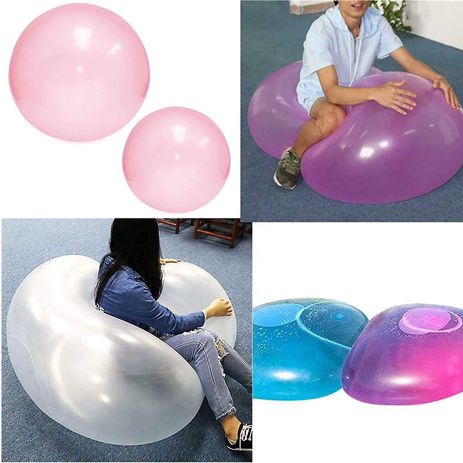 TIANTIAN Water Bubble Water Balloon Inflatable Tear-Resistant Amazing Super Bubble Water Filled Bubble Soft Rubber Ball Beach Pool Outdoor Play Ball Balloon Set for Kids Adults