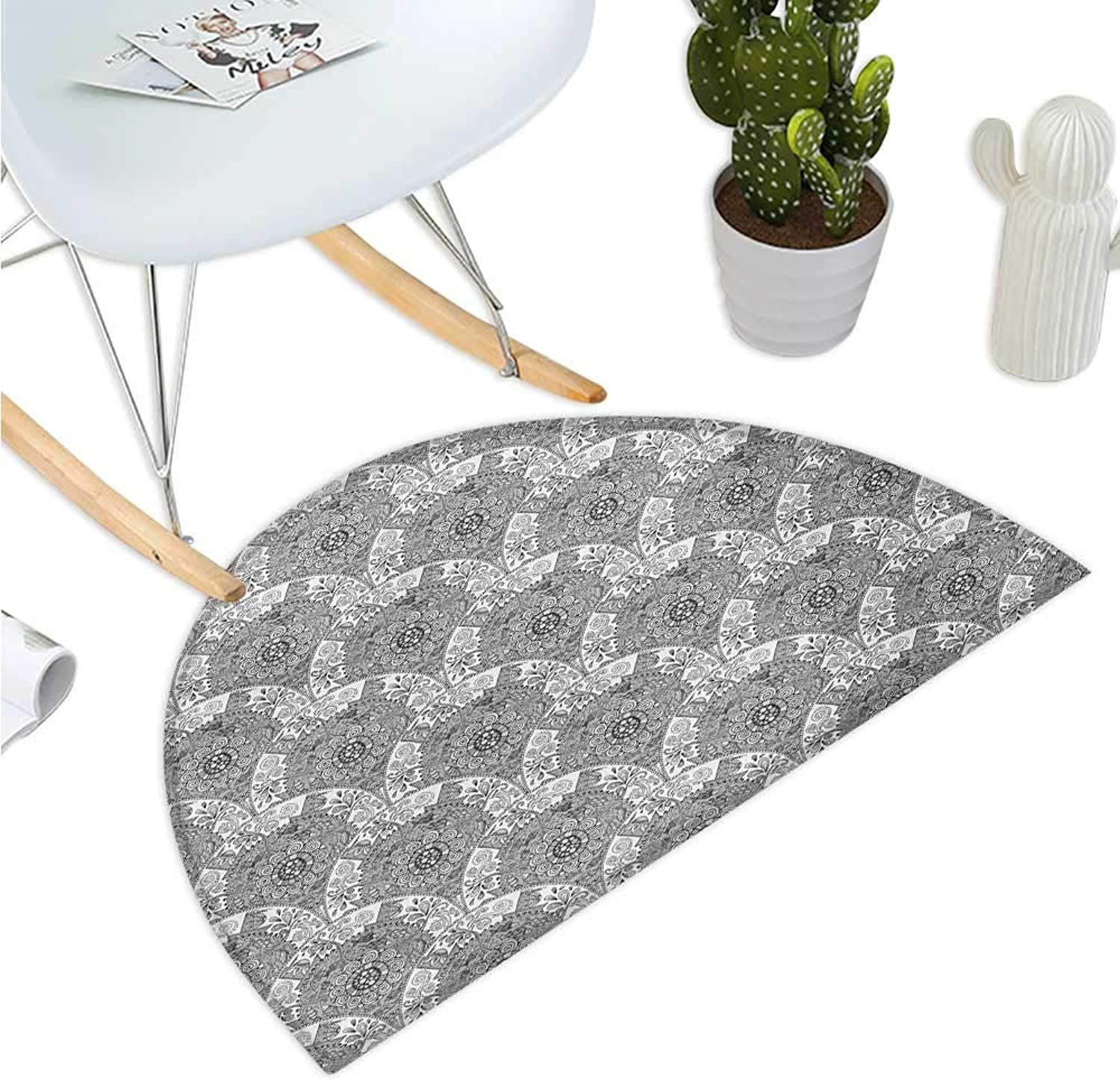 Tribal Semicircular Cushion Greyscale Ethnic Sketch Mandala Design with Boat and School of Fish in The Wind Entry Door Mat H 35.4  xD 53.1  Pale Grey White