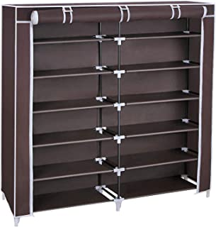 SONGMICS 7 Tiers Shoe Rack Closet with Fabric Cover Portable Shoe Storage Organizer Cabinet Dark Brown URXJ12Z