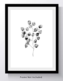 Eucalyptus Leaves on Branch Wall Art Print - 11x14 UNFRAMED, Minimalist Modern Black & White Decor - A Neutral, Contemporary Look for Any Room