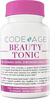 Codeage Beauty Boost Capsules, Organic Vegan Collagen Booster, Builder Supplement for Softer, Firmer, Younger, Stronger, Hair, Skin and Nails, 90 Capsules
